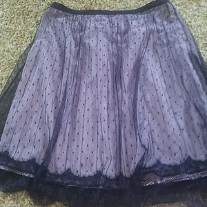 Cream and black lace skirt